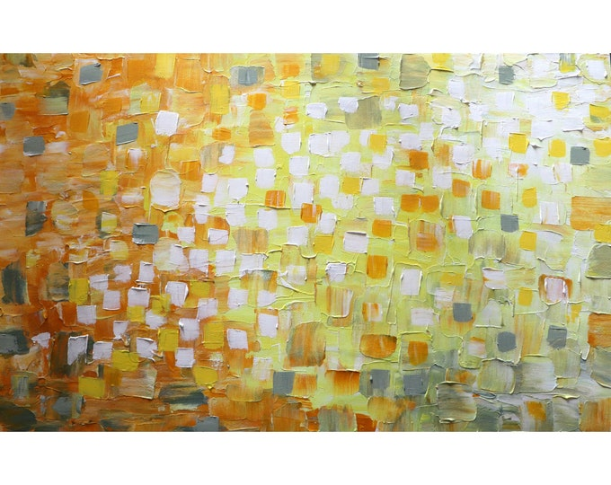 SUNSHINE Abstract Sunny Days Summertime The PERFECT VACATION Large Painting by Luiza Vizoli Yellow White Gray 48x30
