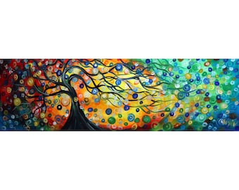 Whispered Breezes SEASONS Tree of Life Original Handmade Oil Large Canvas 72x23 Art by Luiza Vizoli