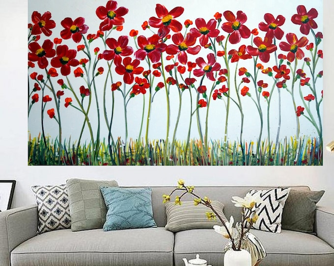 Extra Large Painting 60x36 Canvas Red Flowers Daisy on White Modern Art on Canvas ready to hang
