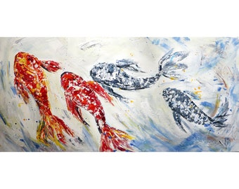 Fish Painting White Red Gray Black Original Oil Painting Large Canvas ready to ship Art by Luiza Vizoli
