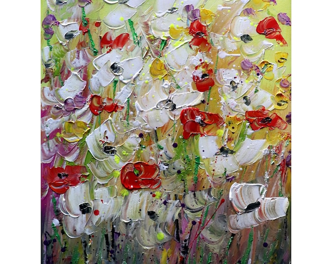 Field of Flowers Original Painting Modern Impressionist Summer Artwork Art by Luiza Vizoli