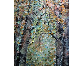 BIRCH TREES My Favorite Fall Path Original Painting Abstract Modern Cream Beige Brown Orange Yellow Blue Green Soft Colors Art  Luiza Vizoli