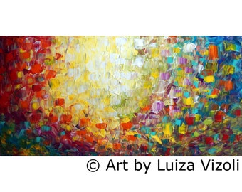 XXL Abstract Lights Oil Painting Large Canvas Minimalism Artwork by Luiza Vizoli, Art for Office 60x36,72x36