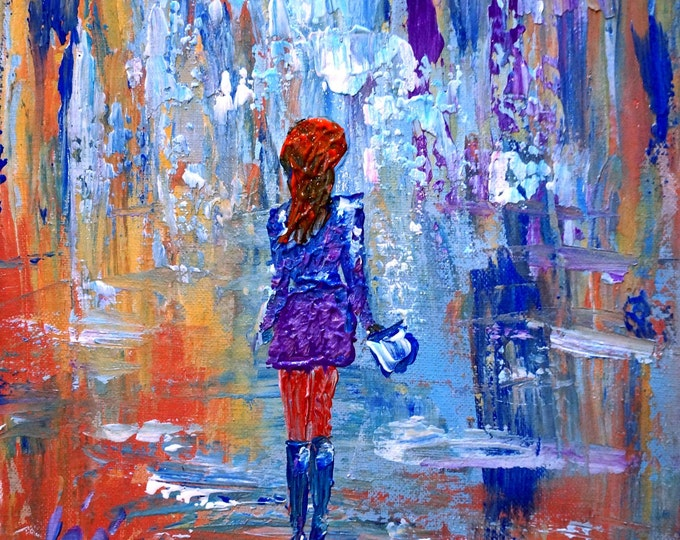 Original Oil Painting Abstract Girl Woman Going Shopping Art on Canvas 12x12