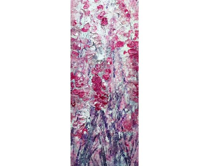 PINK Cherry Blossom Tall vertical wall art ORIGINAL PAINTING Narrow Canvas wall decor for staircase, bathroom, kitchen, entryway