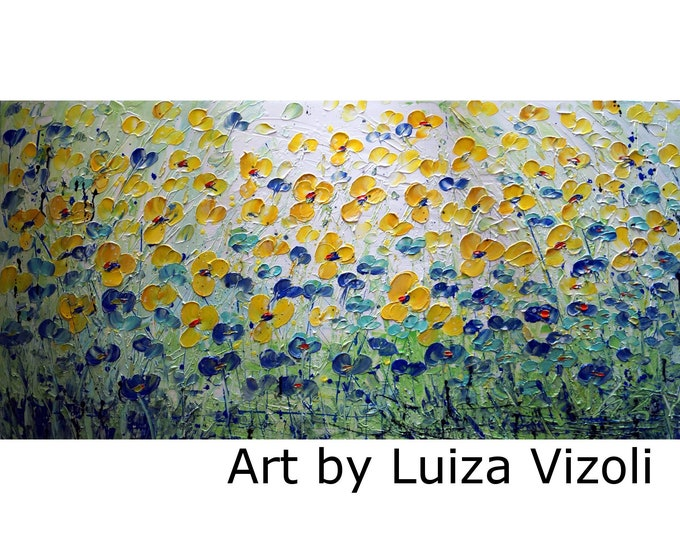 Blue Yellow Forget Me Not Abstract Flowers Light Soft Colors 48x24 Large Canvas Original Painting by Luiza Vizoli