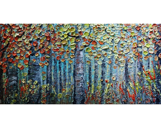 FALL SEASON Birch Trees Landscape Forest Original Oil Painting Large Canvas