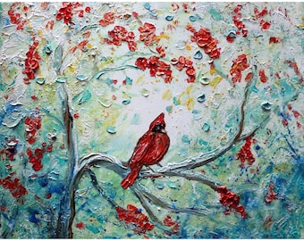 Winter CARDINAL Red Berries Painting Oil Impasto Textured Original Art White Red Blue Landscape canvas Christmas gift idea
