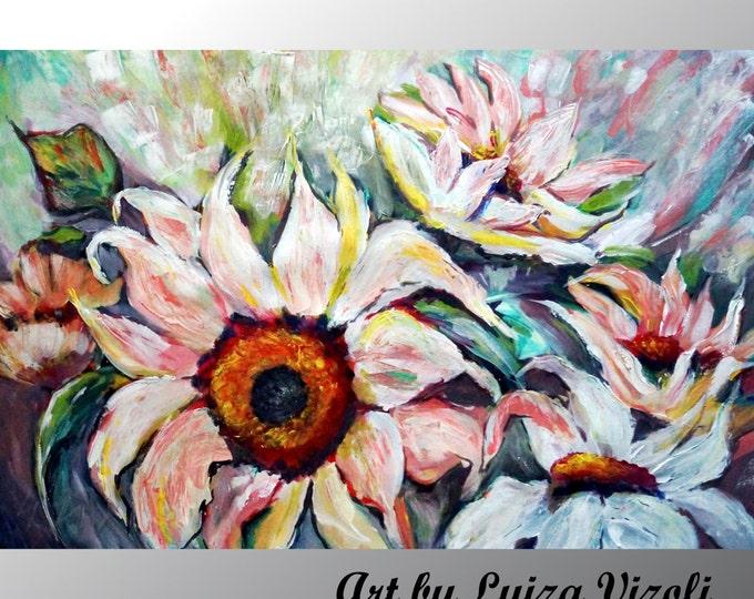 SUNFLOWERS Painting Original White Flowers Original Contemporary Textured Floral art by Luiza Vizoli