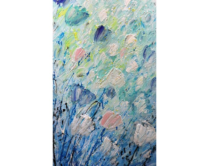 Tulips Spring Wind Tall vertical wall art ORIGINAL PAINTING canvas abstract,Narrow wall decor for staircase, bathroom, kitchen, entryway