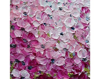 SPRING in PINK Colors Flowers Impasto Original Oil Painting on Canvas