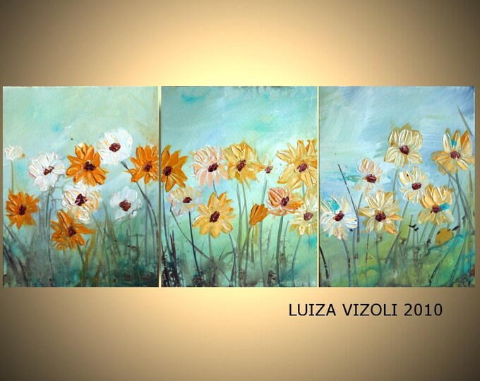 Original Contemporary Abstract Flowers Oil Painting WILDFLOWERS Triptych Artwork