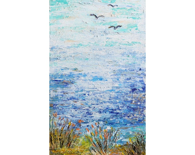 Ocean Sand Beach Dunes Seagulls Coastal Seascape Original Impasto Painting by Luiza Vizoli, Narrow Canvas ready to ship