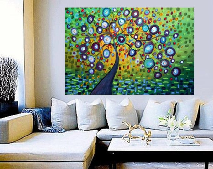 SPRING WIND Green Impasto Oil Large Painting Canvas Modern Abstract Fantasy Landscape Trees