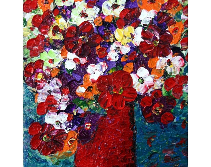 FLOWERS BOUQUET Red Vase Original Oil Painting on Canvas Red Orange White Blue Art by Luiza Vizoli