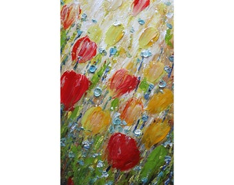 Colorful Tulips Spring Flowers Original Oil Painting Tall Vertical Canvas Art by Luiza Vizoli ready to ship
