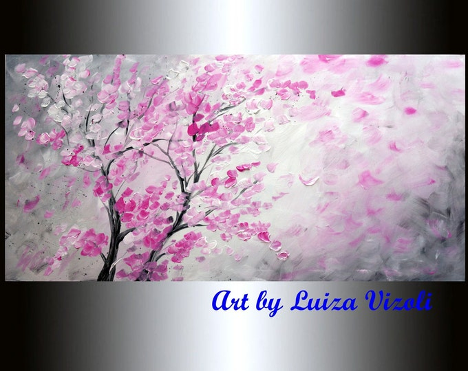 PINK CHERRY Blossom on Grey Original Oil Painting Impasto Textured Large Fine Art by Luiza Vizoli CUSTOM