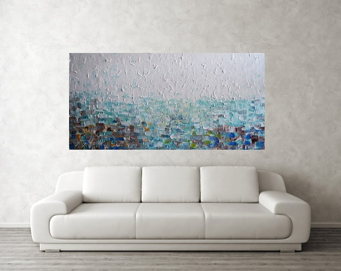XXL Large Abstract White AQUA BLUE Brown Cream Impasto Large Beach Painting Artwork on Canvas Art by Luiza Vizoli