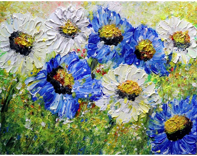 BLUE and WHITE Summer Flowers MEADOW Daisy Blue Wildflowers Original Modern Impressionist Oil Painting by Luiza Vizoli
