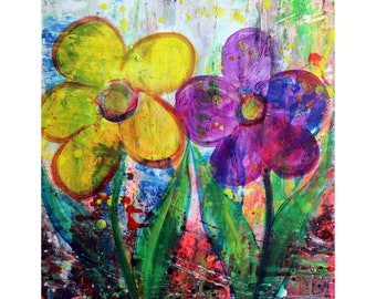 Energizing Your Space with Bright Purple Fuchsia Yellow Flowers Abstract Modern Pop Art Flowers Fun Neon One of a Kind Art by Luiza Vizoli