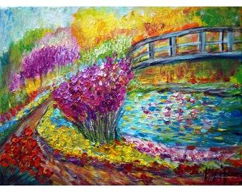 Water Lilies Bridge Spring Flowers Painting  Original Oil Impasto Palette Knife Oil Fine Art Wall Decor