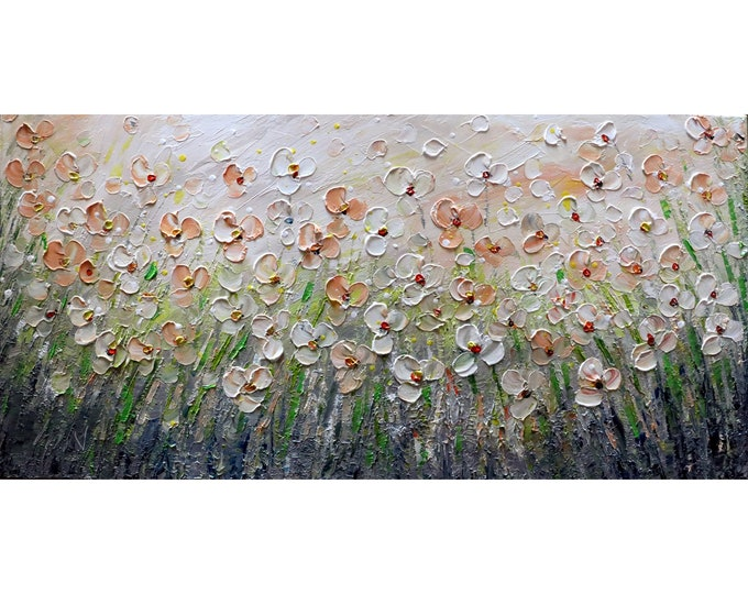 Daisy Abstract Wildflowers Oil Painting Original Art on Canvas Flowers Fields