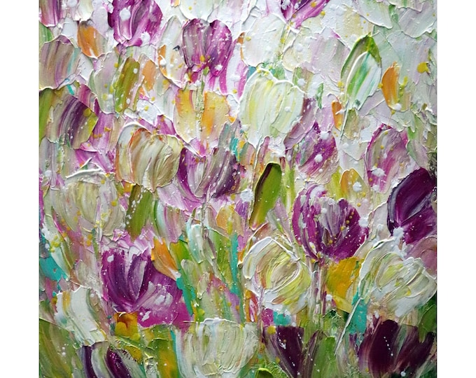 SPRING TULIPS Fresh Flowers Original Oil Painting Modern Canvas Art Luiza Vizoli