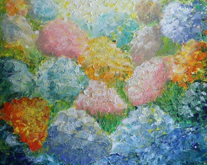 Hydrangea SUMMER Pastel Flowers Oil Painting White Gray Blue Turquoise Original Art by Luiza Vizoli