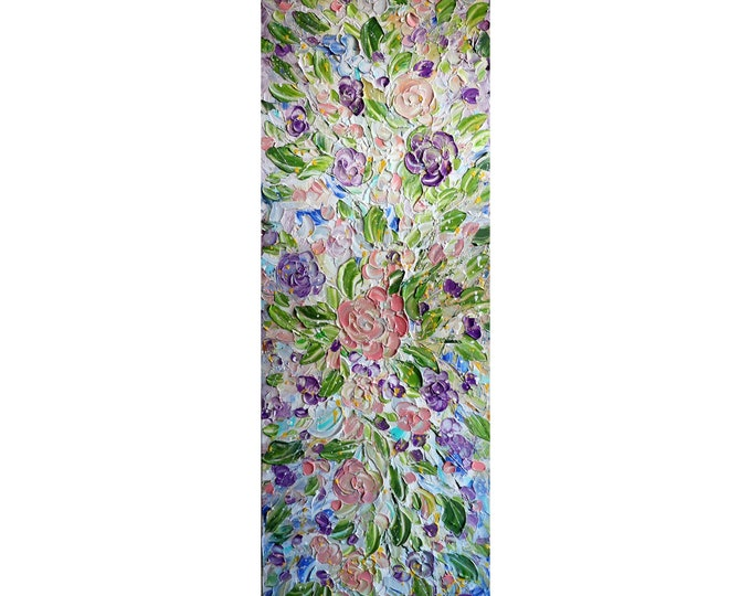 Tall narrow Extra Large wall art 52x16  ORIGINAL PAINTING canvas ROSES, Long wall decor staircase, bathroom, entryway