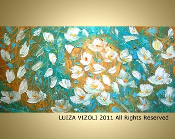 Blue Gold White Original Painting WATER and FLOWERS Modern Abstract Turquoise Floral Impasto Large Painting by Luiza Vizoli