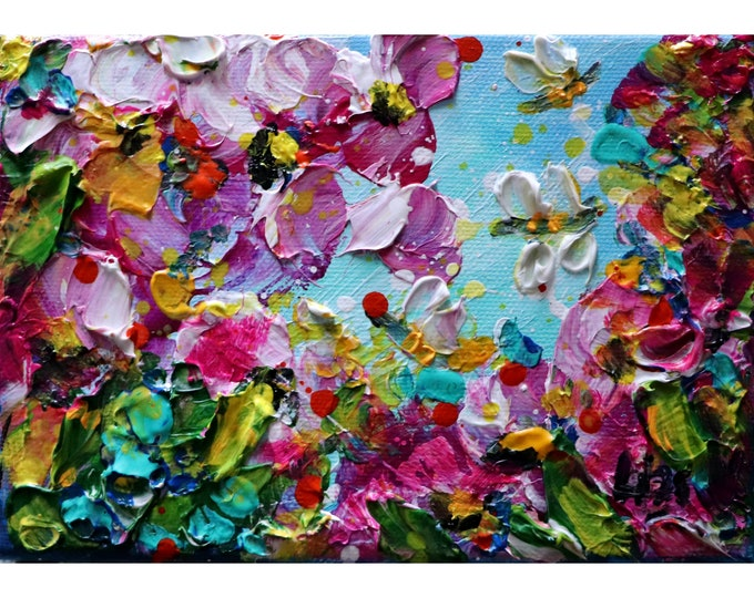 Spring Blossom, Bees and Flowers Original Oil Painting  Art by Luiza Vizoli Custom SMALL Canvas