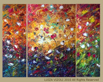 Original Abstract Palette Knife Triptych Large Oil Painting RAINING FLOWERS by Luiza Vizoli 48x36