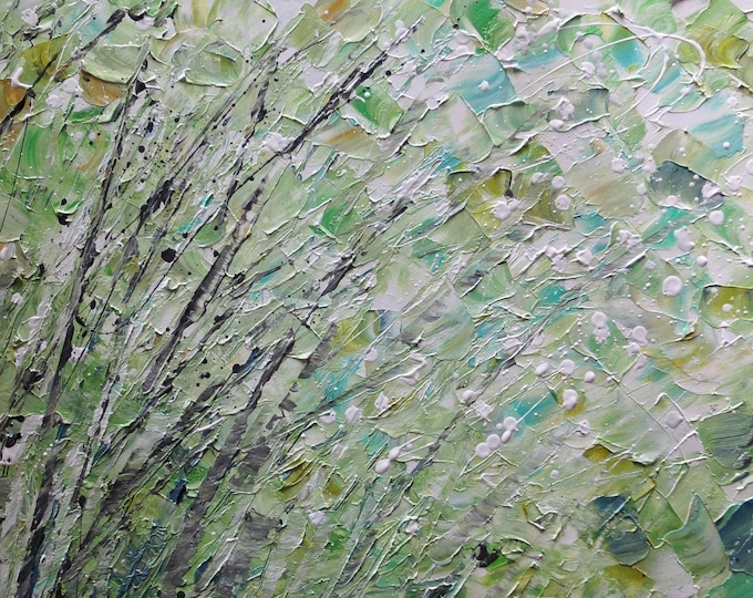 Green White Abstract Large Painting SPRING WIND Impasto Textured Original Art