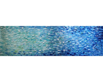 Long Narrow BLUE Water Reflections Horizontal wall art ORIGINAL PAINTING,  wall decor for staircase, bedroom,bathroom, kitchen, entryway