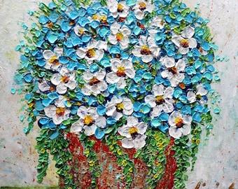 Fresh Flowers Bouquet Original Impasto Painting Canvas Art by Luiza Vizoli Square Canvas Textured Heavy Texture