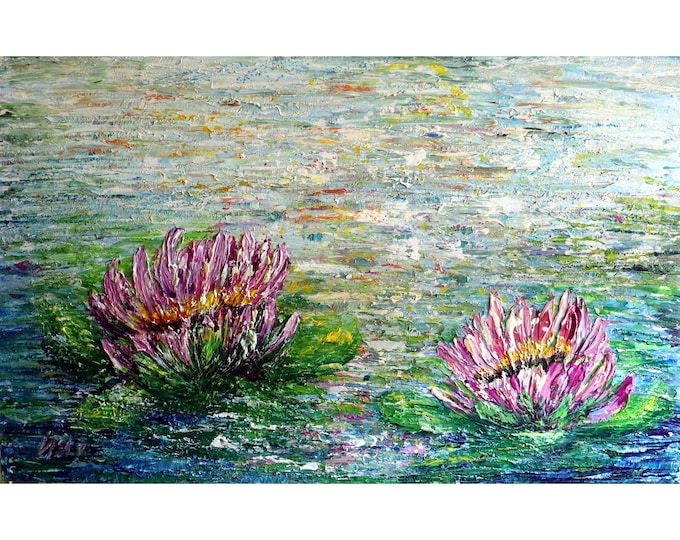 Water Lilies Gorgeous Aquatic Blooms Lotus Flowers Impasto Textured Extra Large Canvas