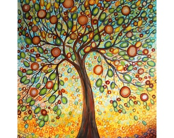 HUGE Vertical Painting The HOPE  Peace and Friendship OLIVE Tree Original powerful meaning art for office, spa retreat art 72x36, 60x36