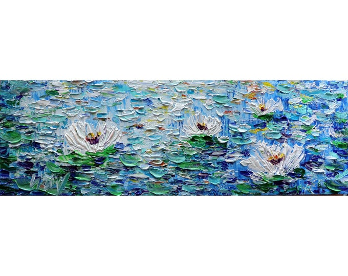 Long Narrow Horizontal Original Panoramic Painting Water Abstract Lilies Impasto Textured Coastal Art by Luiza Vizoli, ready to ship