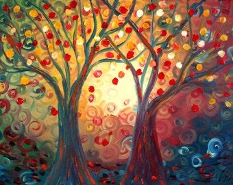 Celebrating Life Original Fantasy Oil Landscape Painting on Canvas by Luiza Vizoli