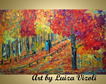 NORTH WOODS Original Abstract Large 48x30 Modern Trees Landscape Fall Autumn Palette Knife Oil Painting by Luiza Vizoli