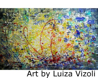 Pollock Inspired ABSTRACT Sunset Original Expressionist Drip Painting Huge Canvas 48x30 Ready to Ship