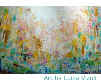 Abstract Painting Pink White Cream Yellow Blue Green Rust Modern Impasto Art on Canvas by Luiza Vizoli