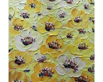 Yellow Anemones Enhanced Original Oil Impasto Painting Textured Modern Art by Luiza Vizoli