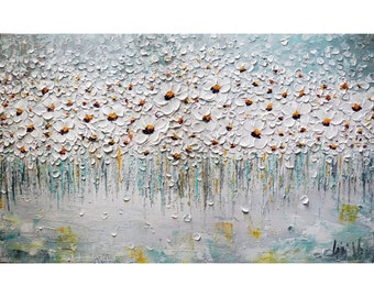Daisies in the Mist Flowers Original Painting White Gray Aqua Blue Large Canvas Textured Impasto Art ready to ship