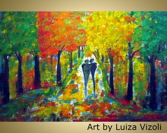 Original Abstract Impasto Large Trees Landscape Oil Painting A Beautiful Afternoon by Luiza Vizoli