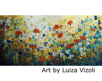 Original Painting Large Canvas Caramel Poppies Forget Me Not Daisy White Yellow Blue Field 48x24 ready to ship
