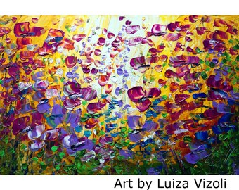 PURPLE FLOWERS Original Painting on Large Canvas YELLOW Violet Flowers Field canvas ready to hang