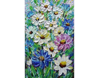 Daisy Lily of the Valley Forget-Me-Not Flowers  Wildflowers Original Painting Vertical Canvas  Art by Luiza Vizoli