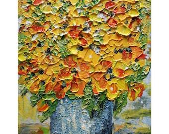 Yellow Flowers Bouquet Blue Gray Vase Original Oil painting Impasto Art on Canvas
