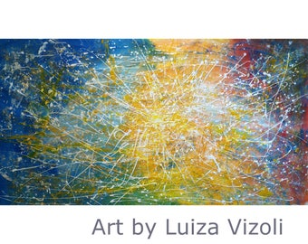 Inspired by Jackson Pollock extra large Abstract painting Yellow Blue SUNLIGHT Light and Nature abstract art Modern Artwork oversize